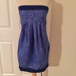 Staccato Strapless blue mini dress
